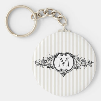 Framed Monogram On Stripes Keychain