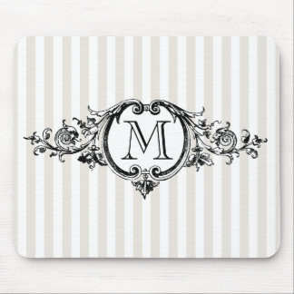 Framed Monogram On Stripes Mouse Pad
