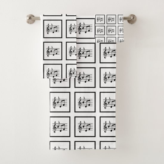 Framed Musical Squares Bath Towel Set