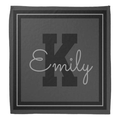 Framed Name  Monogram  Greys  Black Bandana