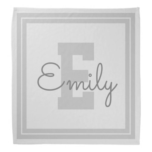 Framed Name  Monogram  Light Grey  Grey Bandana