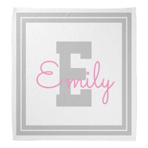 Framed Name  Monogram  Light Grey  Pink Bandana