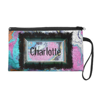 Framed Name on Abstract Wall Mural Painting Wristlet Purse