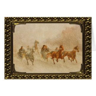 Framed One Horse Open Sleigh Race - Vintage Card
