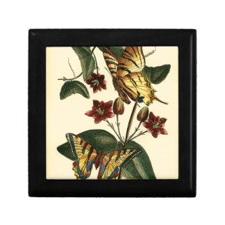 Framed Painting of Butterflies and Flowers Keepsake Box