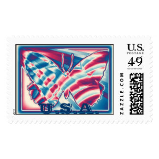 Framed Patriotic Gradient Butterfly,  U.S.A. Postage
