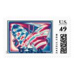 Framed Patriotic Gradient Butterfly,  U.S.A. Postage Stamp