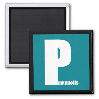 Framed Pinkopolis Magnetism - Aqua Logo Magnets