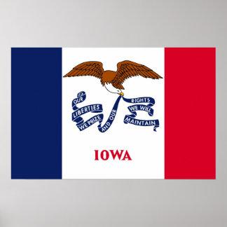 Framed print with Flag of Iowa, U.S.A.
