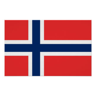 Framed print with Flag of Norway