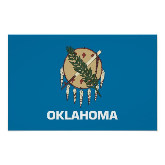 Framed print with Flag of Oklahoma, U.S.A.