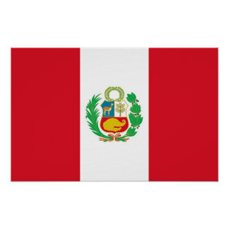 Framed print with Flag of Peru