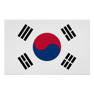 Framed print with Flag of South Korea