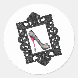 Framed Reptile Stiletto Logo Classic Round Sticker