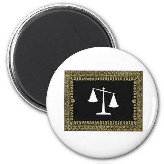 framed scales of justice magnet