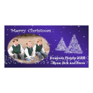 Framed Snow and Christmas Trees Blue Photo Card