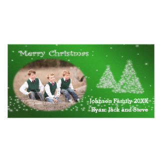 Framed Snow and Christmas Trees Green Photo Card