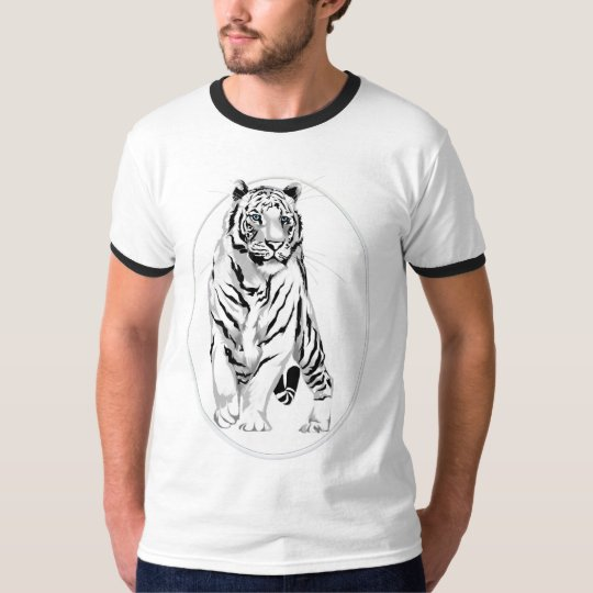 Framed Stately White Tiger Shirt