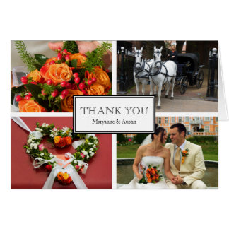 Framed thank you 4 photo montage personal note greeting card