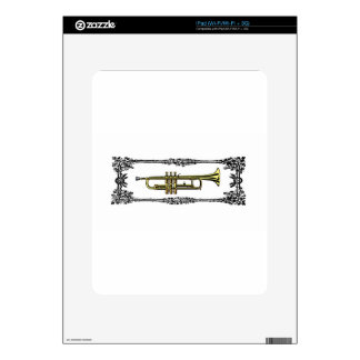 framed trumpet in gold iPad skin