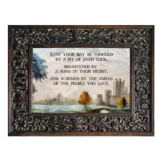 Framed Vintage Irish Blessing and Castle Landscape Postcard