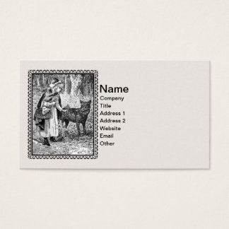 Framed Vintage Red Riding Hood With Wolf Business Card