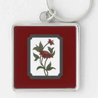 Framed Watercolor Red Lotus Keychain