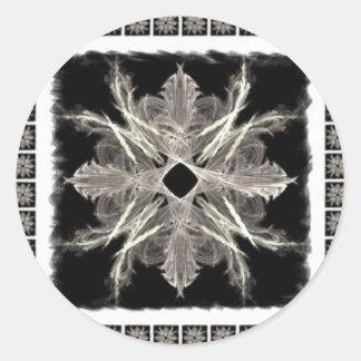 Framed White on Black Fractal Art Design Classic Round Sticker