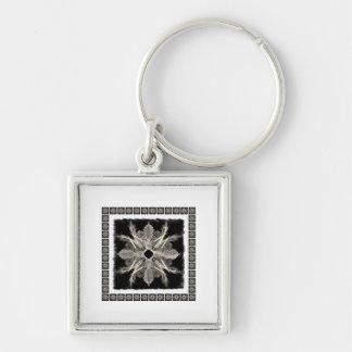 Framed White on Black Fractal Art Design Keychain