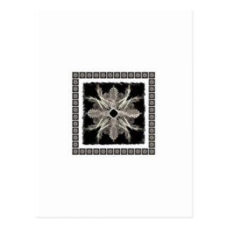 Framed White on Black Fractal Art Design Postcard