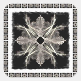 Framed White on Black Fractal Art Design Square Sticker