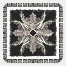 Framed White on Black Fractal Art Design Sticker