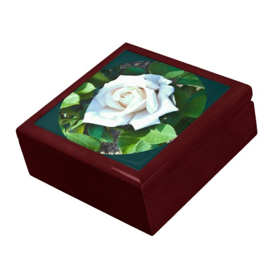 Framed White Rose Jewelry Box