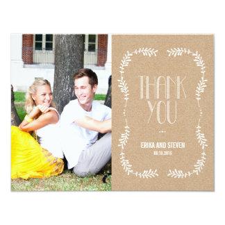 Framing Leaves Wedding Photo Thank You Card Craft
