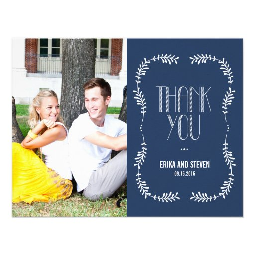 Framing Leaves Wedding Photo Thank You Card Navy Personalized Announcements