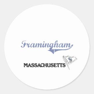 Framingham Massachusetts City Classic Classic Round Sticker