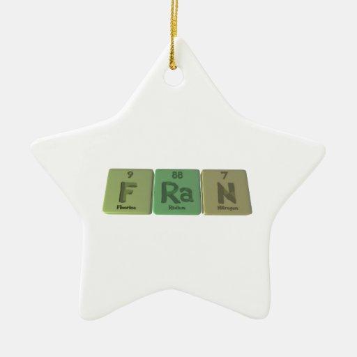 Fran como nitrógeno del radio del flúor adorno navideño de cerámica en forma de estrella