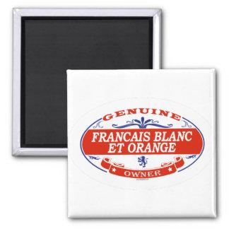 Francais Blanc y naranja Imán Cuadrado