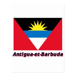 Français de Drapeau Antigua-y-Barbuda avec le nom Postal