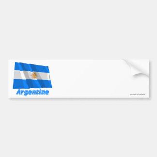 Français de Drapeau Argentina avec le nom en Pegatina Para Auto