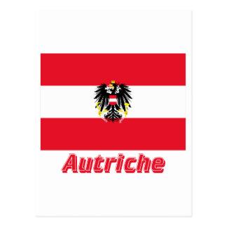 Français de Drapeau Autriche avec le nom en Tarjeta Postal