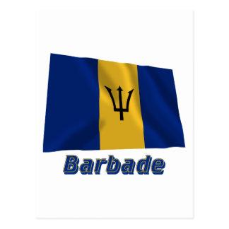 Français de Drapeau Barbade avec le nom en Postal