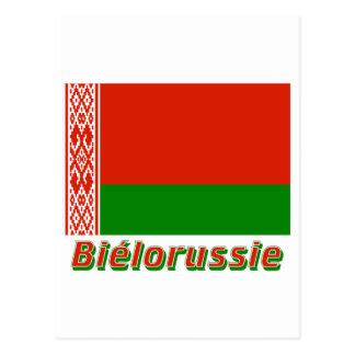 Français de Drapeau Biélorussie avec le nom en Postal