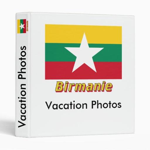 Français de Drapeau Birmanie avec le nom en