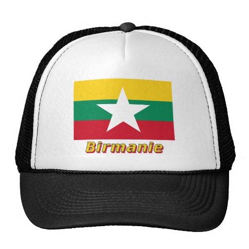 Français de Drapeau Birmanie avec le nom en Gorro De Camionero