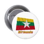 Français de Drapeau Birmanie avec le nom en Pins