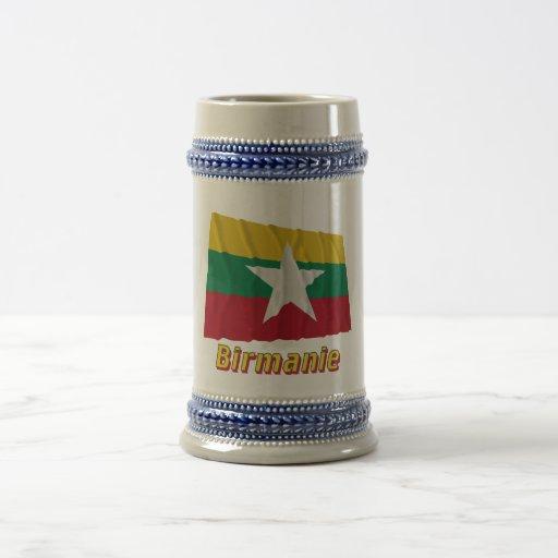 Français de Drapeau Birmanie avec le nom en Taza De Café