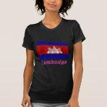 Français de Drapeau Cambodge avec le nom en Tee Shirts
