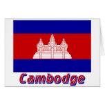 Français de Drapeau Cambodge avec le nom en Tarjetas