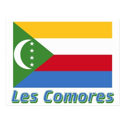 Français de Drapeau Comores avec le nom en Tarjeta Postal